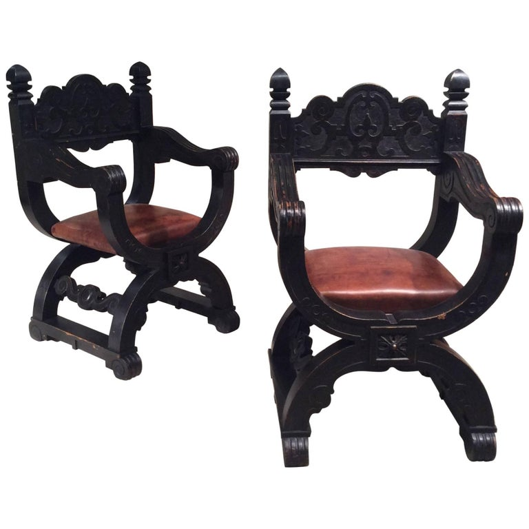 Late 19th Century, Pair of Oak Dagobert Black Patina 'Seats Armchairs Chairs' For Sale