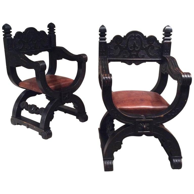 Late 19th Century, Pair of Oak Dagobert Black Patina 'Seats Armchairs Chairs'