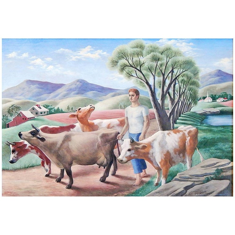 """Walking the Cows"" Important Social Realist Painting by Sternberg, 1944"