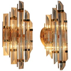 Glamorous Pair of Italian Brass and Glass Sconces