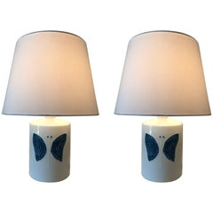 Pair of Rare Swedish Sylvia Leuchovius Rörstrand Porcelain Table Lamps