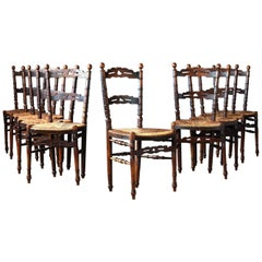 Set of Ten Provincial Walnut Dining Room Chairs, circa 1900