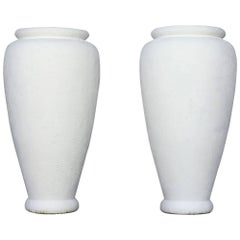 Vintage Pair of Large Patio Urns Painted with Gesso in a French Technique