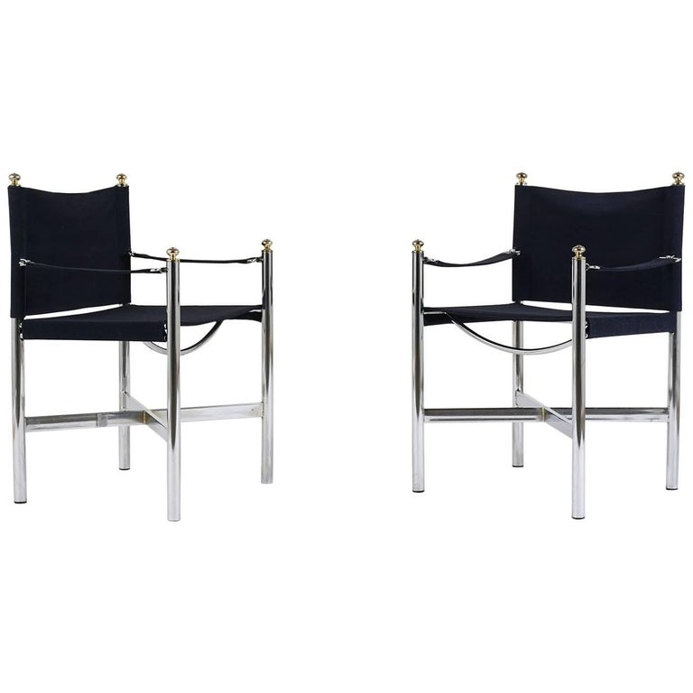Pair of Mid-Century Modern Chrome and Brass Lounge Chairs
