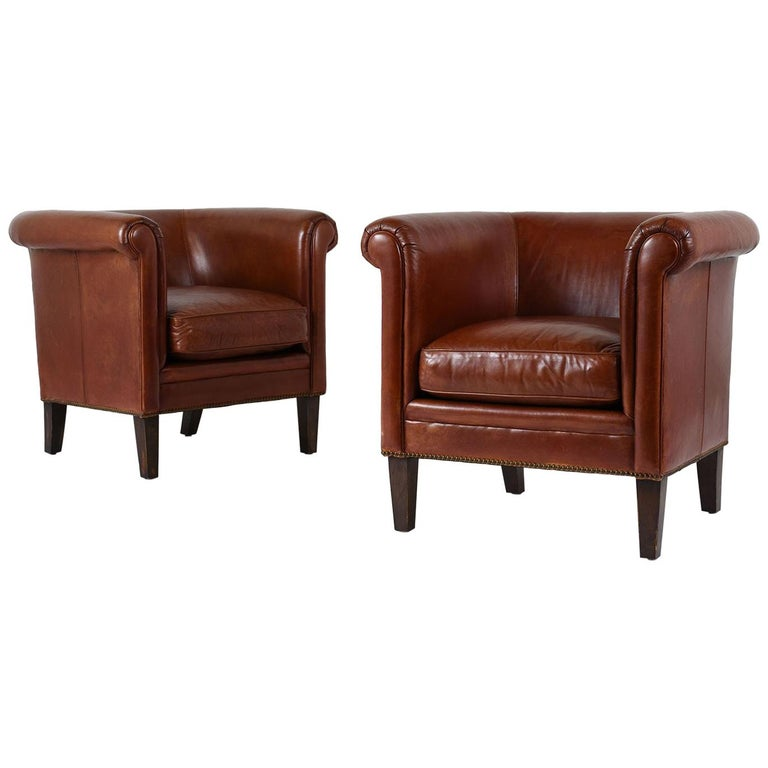 Pair of Regency-Style Bernhardt Leather Club Chairs