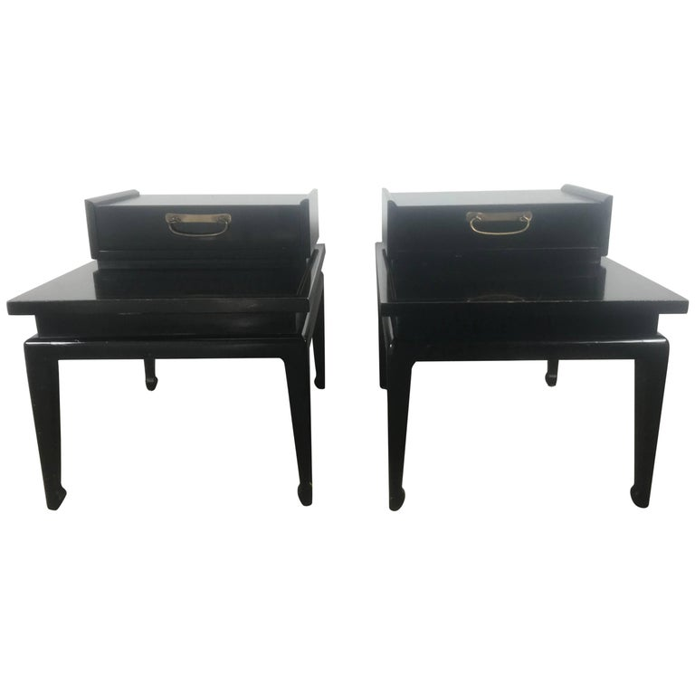 Pair of Black Lacquer Asian Modern End Tables or Stands American of Martinsville