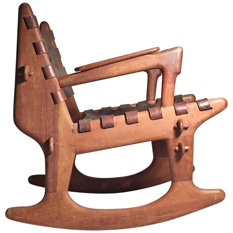 Angel Pazmino Leather And Wood Rocking Chair For Sale At 1stdibs