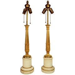 Pair 19th Century French Empire Ormolu and Marble Columnar Form Lamp Bases