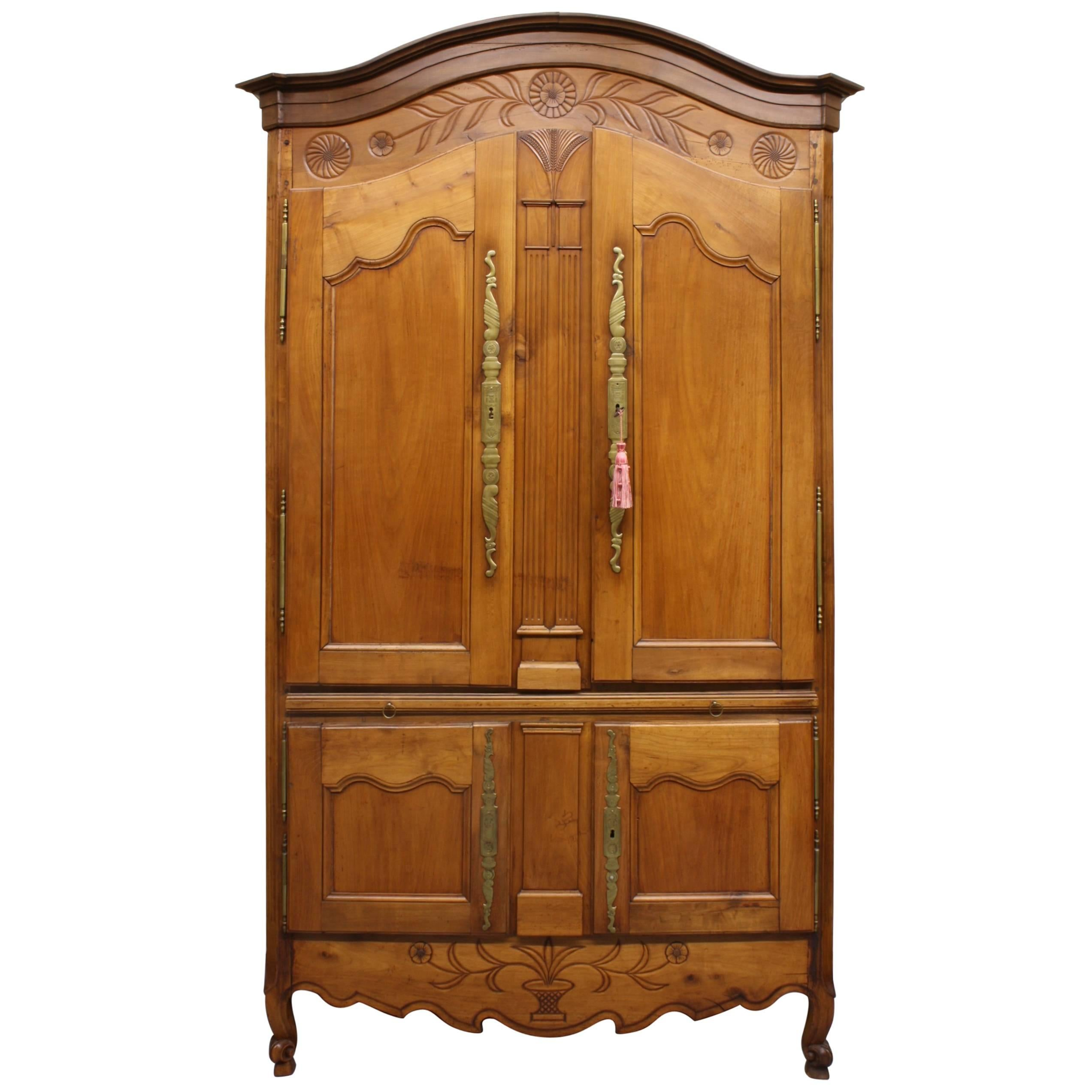 French Country Cherry Cupboard or Armoire with Four Doors and Shelf