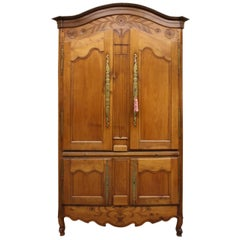 Unusual Cherry Cupboard or Armoire with Four Doors and a Shelf from Brittany