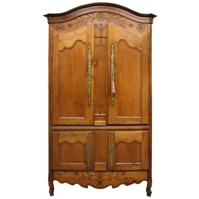 French Country Cherry Cupboard or Armoire with Four Doors and Shelf For Sale