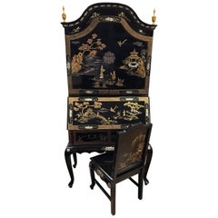 Black Laquered Asian Chinoiserie Secretary Secretaire Desk and Chair