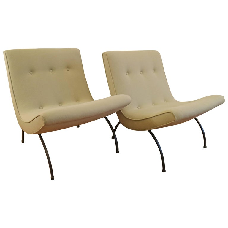 Pair of Mid-Century Modern Milo Baughman Scoop Lounge Chairs
