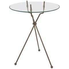 Gino Sarfatti attributed rare folding  Brass Side Table ,   Milano 1950
