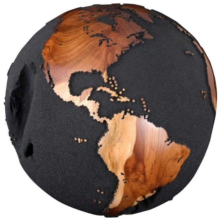 Contemporary Teak Root Globe with Volcanic Sand Finishing, 30cm