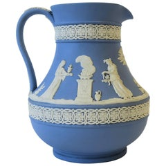 Midcentury English Wedgwood Blue and White Jasperware Pitcher