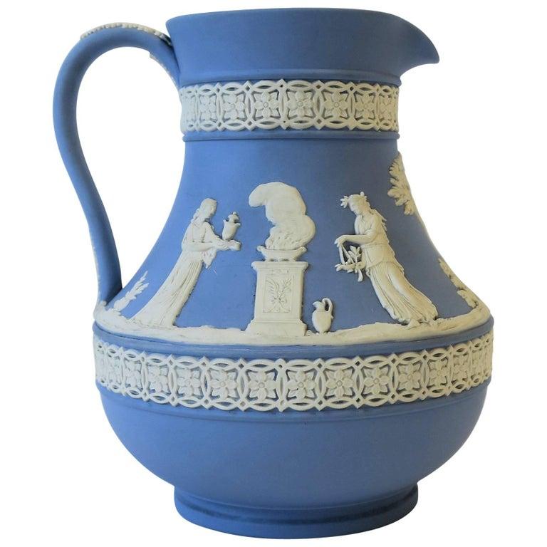 Midcentury English Wedgwood Blue and White Jasperware Pitcher