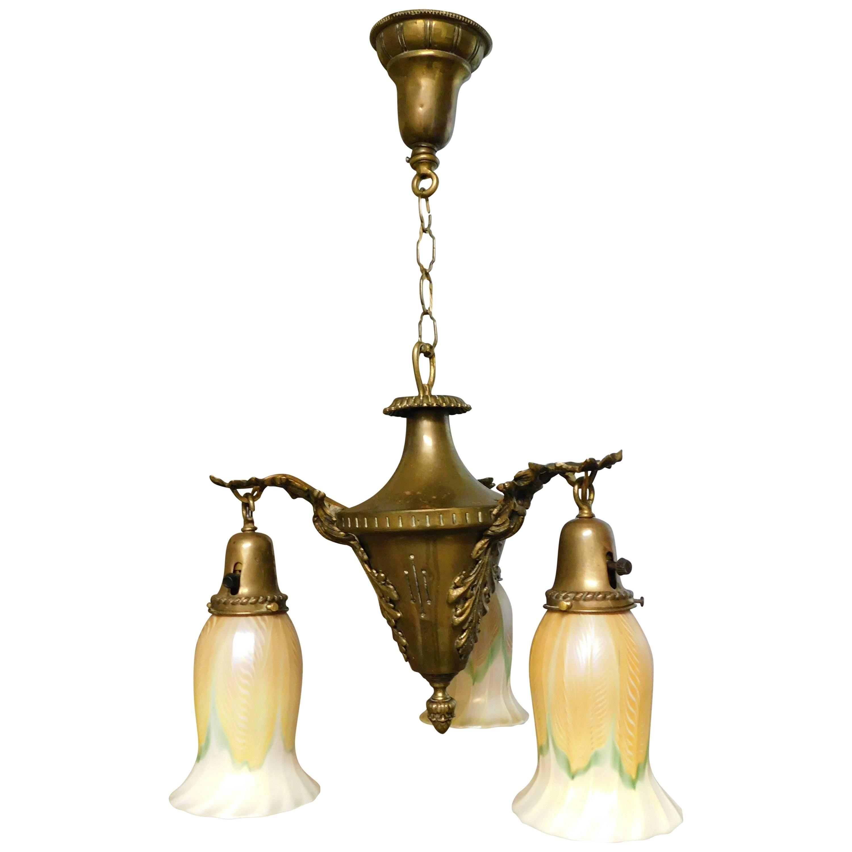 Art Nouveau Chandelier with Quezal Shades