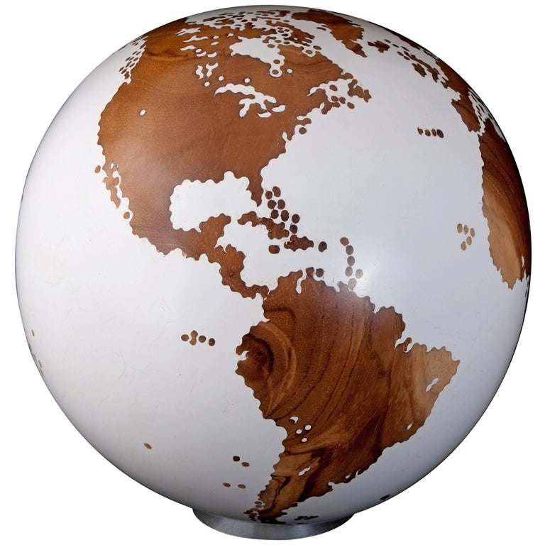 Contemporary Wooden Globe from Teak Root with Acrylic White Resin Finish, 20cm For Sale