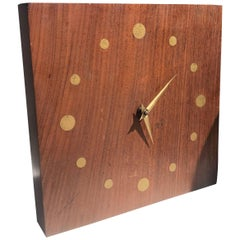 Mid-Century Modern Wall Rosewood and Brass Clock