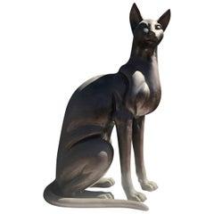 1970s Hollywood Regency Bronze Cat Sculpture