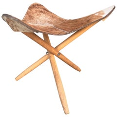 Mid-Century Modern Tripod Stool with Cowhide