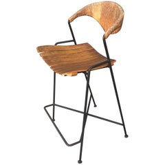 1950s Arthur Umanoff Iron and Wicker Bar Stool, 1950s