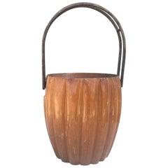 Vintage Mid-Century Modern Macabo Cusano Wood Basket, 1950s