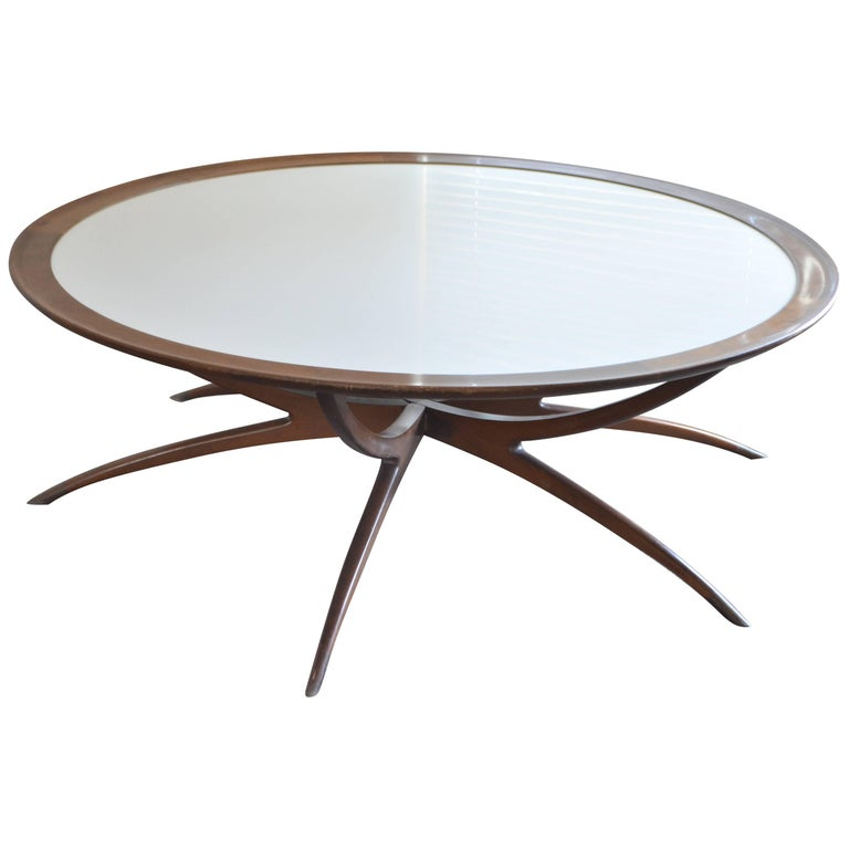 Table with Spider Leg Base and Milk Glass Top Attributed to Carlo di Carli