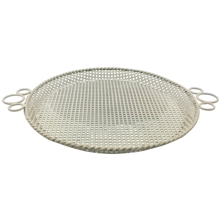 Mathieu Mategot Style Perforated Metal Barware Serving Tray