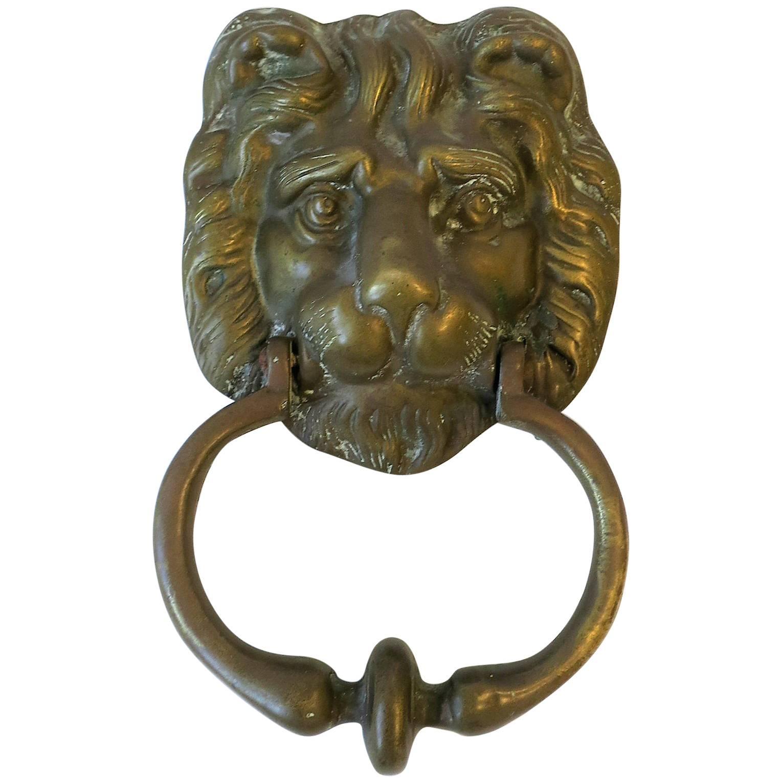 Solid Brass Lion Head Door Knocker Hardware For Sale