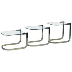 Mid-Century Modern Floating Glass Nesting Tables