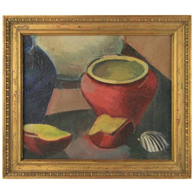 Red Pot Still Life Painting