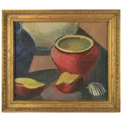 Red Pot Still Life Painting