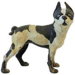 Black and White Cast Iron Boston Terrier Dog Sculpture or Doorstop