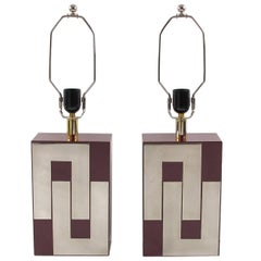Attributed to Philippe Jean Mid-Century Formica and Chrome Table Lamp - a pair
