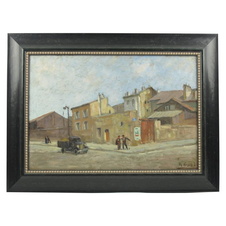 French R. Gori Oil on Canvas Painting Early 20th Century French Street Scene