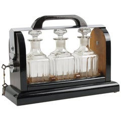 Art Deco Macassar Wood and Chrome Mounted Case Tantalus Three Decanters