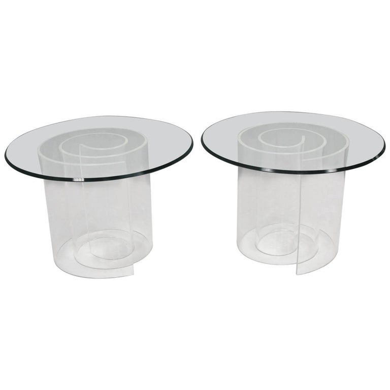 1970s Vladimir Kagan Style Lucite and Glass Snail Coffee Table, a Pair