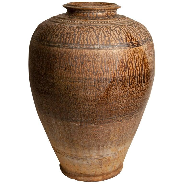 Annamese Stoneware Storage Jar, Drip Glaze, 19th Century, Vietnam