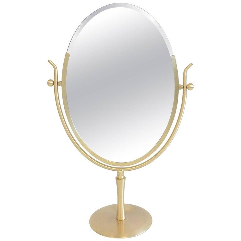 Satin Brass and Leather Vanity Mirror by Charles Hollis Jones