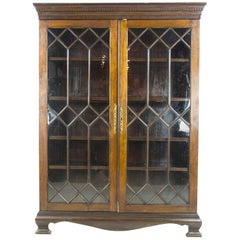 Walnut Bookcase, Antique Display Cabinet, Astragal Glass, Scotland, 1890