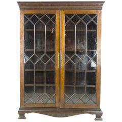 Mahogany Bookcase, Antique Display Cabinet, Astragal Glass, Scotland, 1890