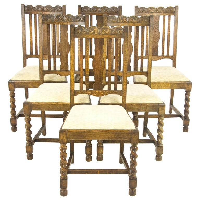 Antique Dining Chairs Six Barley Twist Oak Furniture Scotland 1920s For