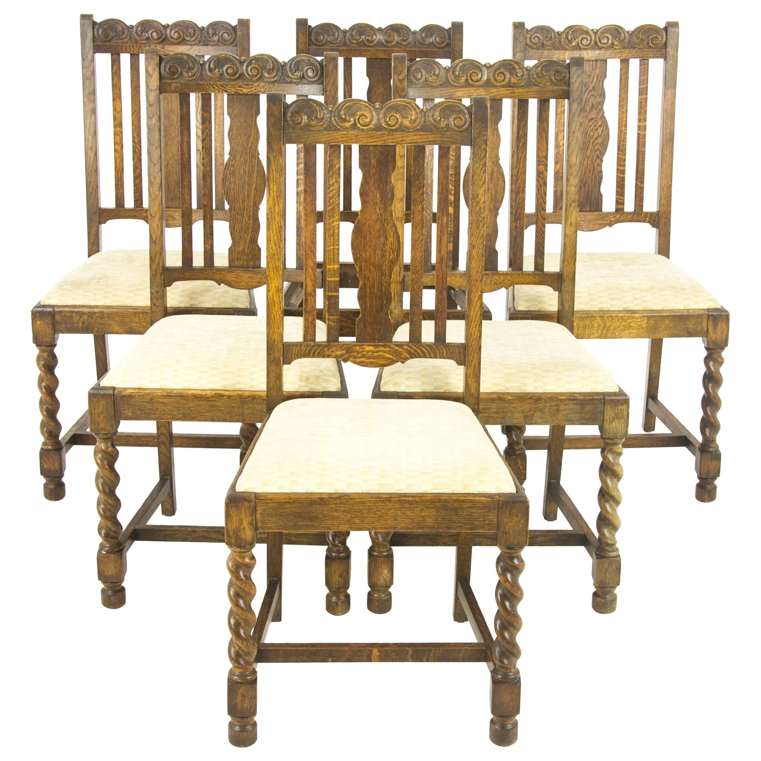 Antique Dining Chairs Six, Barley Twist Oak, Antique Furniture, Scotland,  1920s For