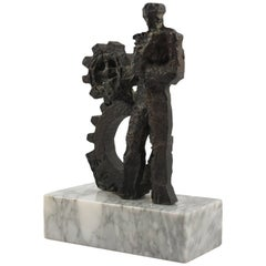 Man and Machine 1970s Modernist Brutalist Bronze Sculpture on Marble Base