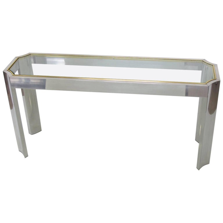 1970s Modernist Aluminum Brass Glass Console or Sofa Table