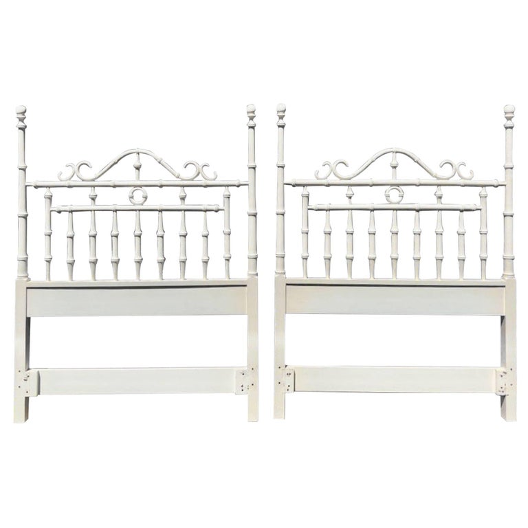 Pair of Faux Bamboo Carved Wood Twin Headboards in White