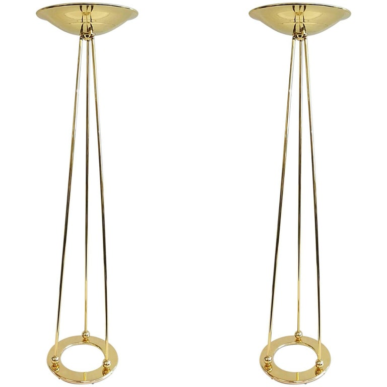Pair of Polish Brass Torchiere Floor Lamps by Casella