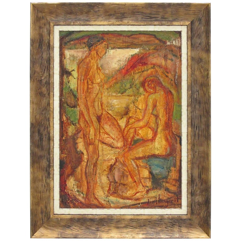 Louis Bergerot France Oil on Canvas Painting Cubist Naked Bathers